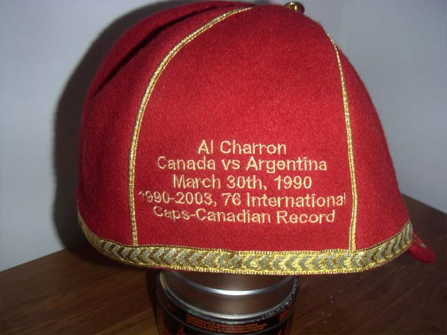 Al Charon's Canadian International Rugby Cap