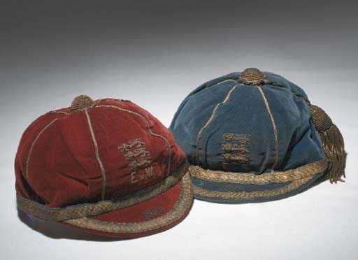 Classic England International Football Caps: Blue England v Scotland School Boy International cap 1925 & maroon England v Wales School Boy International cap 1925