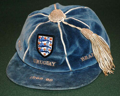 England International Football Cap v Mexico, Uruguay, Brazil 1968-69