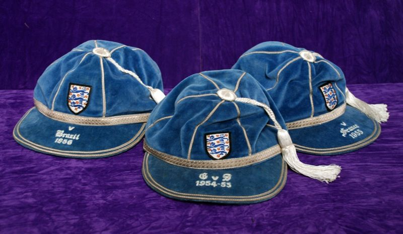 Duncan Edwards' England caps v Brazil 1956, Scotland 1954 & France 1955