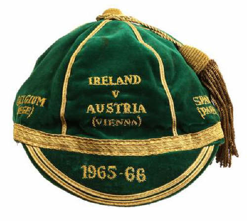 Shay Brennan's Republic of Ireland football cap 1965 v Austria, Belgium & Spain