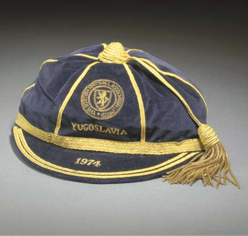 Willie Morgan's Scotland football cap v Yugoslavia 1974