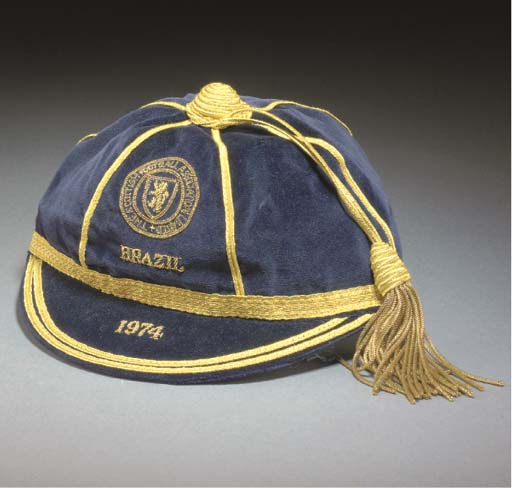 Willie Morgan's Scotland football cap v Brazil 1974