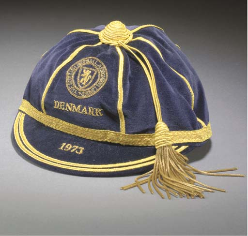 Willie Morgan's Scotland Football Cap v Denmark 1972 (marked 1973)