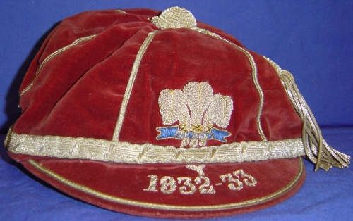 Welsh Youth International Rugby Cap 1932-33
